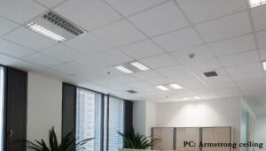 Fiber board ceiling